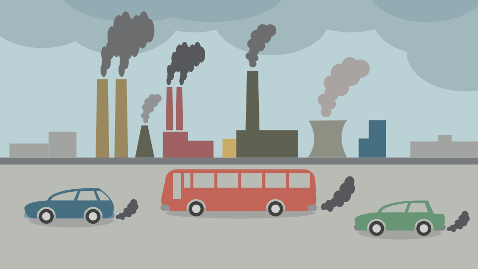 An illustration of cars, buildings and smoke pollution.