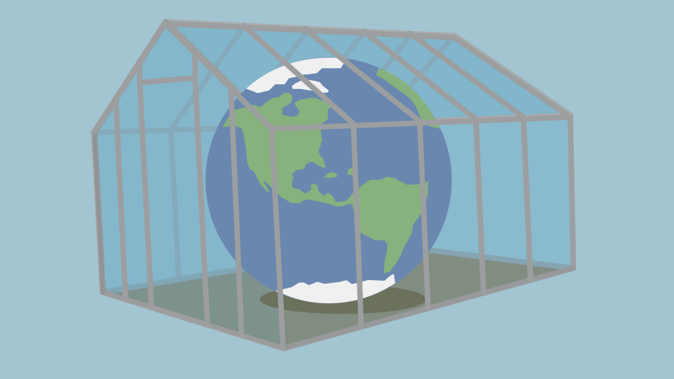 Illustration of the Earth inside a greenhouse.