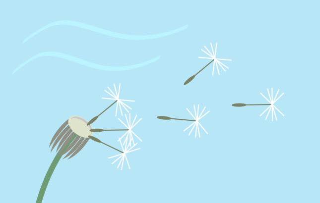An illustration of a dandelion blowing in the wind.