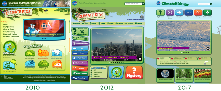 Snapshots of the NASA Climate Kids website throughout the years.