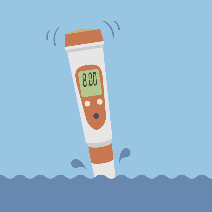 Illustration of a pH meter dipping into the ocean.