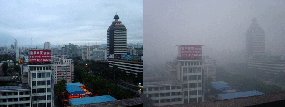 A before and after image showing Beijing after a rain and on a smoggy day.
