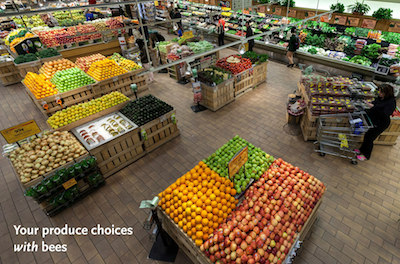 an image of a grocery store produce section with and without foods that come from plants pollinated by bees.