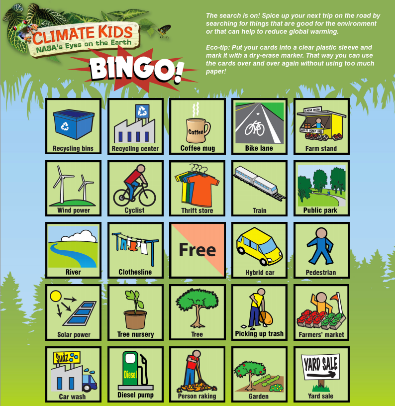 Nasa climate kids play bingo sample bingo card solutioingenieria Images