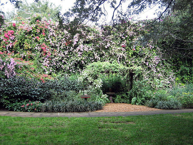 Garden With An Archway And Purple And Pink Flowers As Well As Grass.