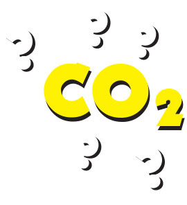 Cartoon of CO2 formula, with question marks all around.
