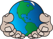 Cartoon of Planet Earth heald in two cupped human hands.