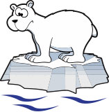 Cartoon polar bear stands on small chunk of ice.