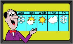 Cartoon weatherman giving forecast for the next five days.