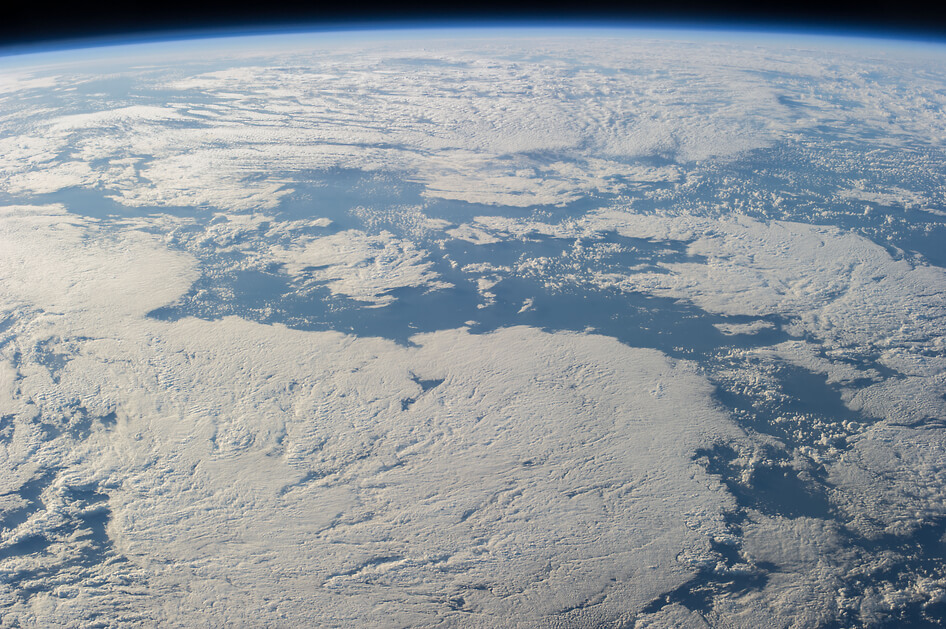 A cloud-covered part of Earth, photographed by an Expedition 40 crew member on the International Space Station.