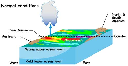 Drawing of normal conditions in Pacific.