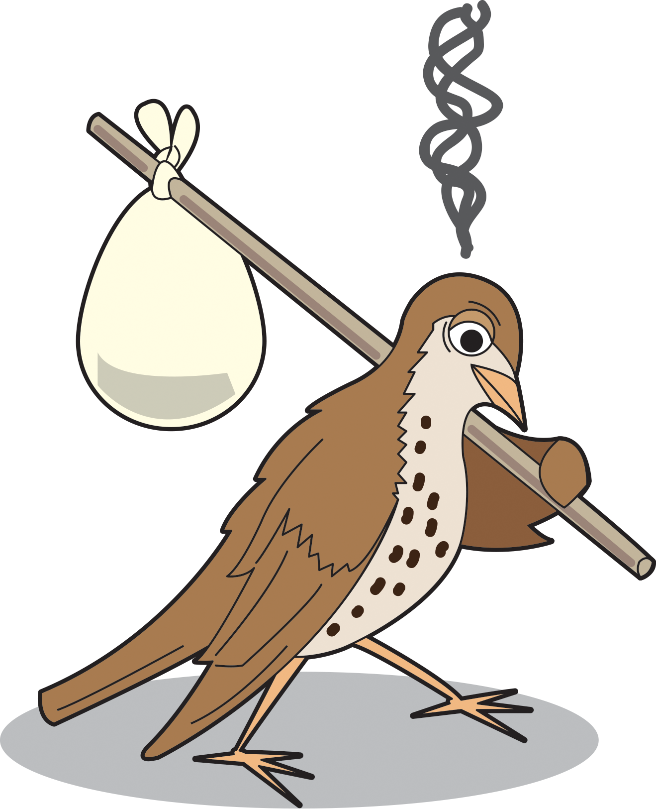 a cartoon of an upset bird with a stick and bindle