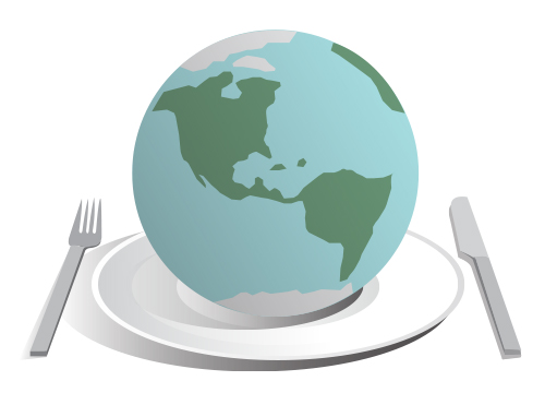 An illustration of Earth on a plate with silverware.