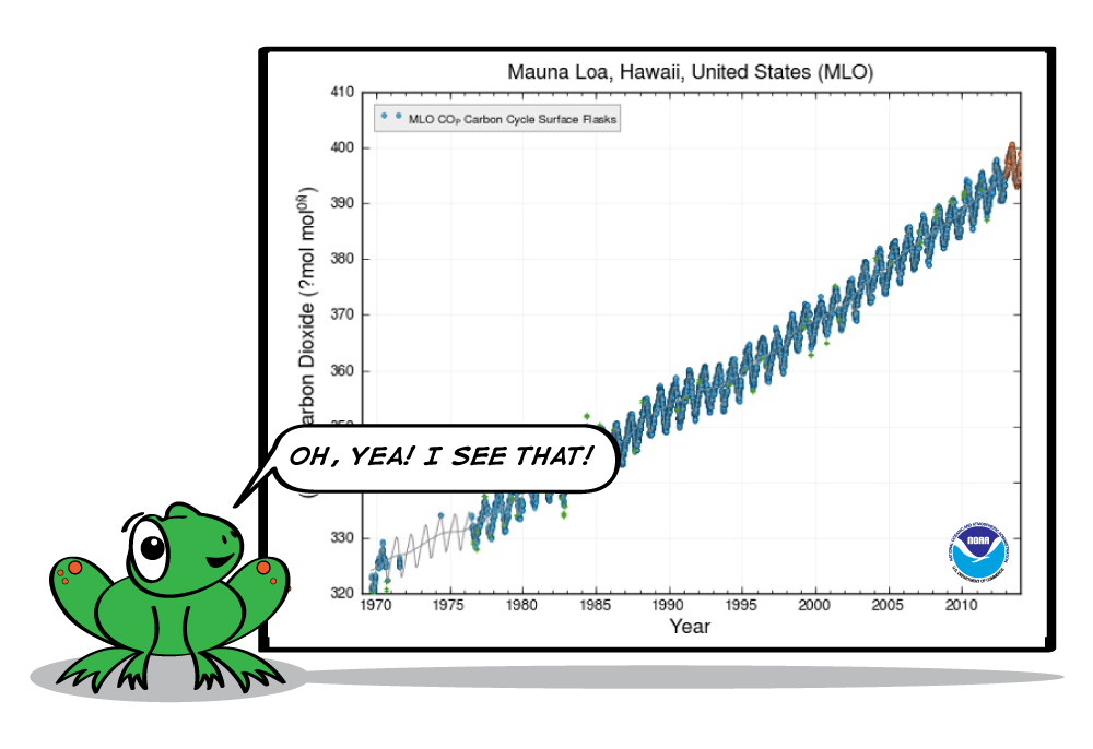 The same graph of carbon dioxide levels in Hawaii, and the cartoon frog is looking at it saying, Oh, yea! I see that!
