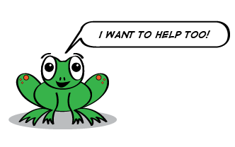 the cartoon frog says, I want to help too!