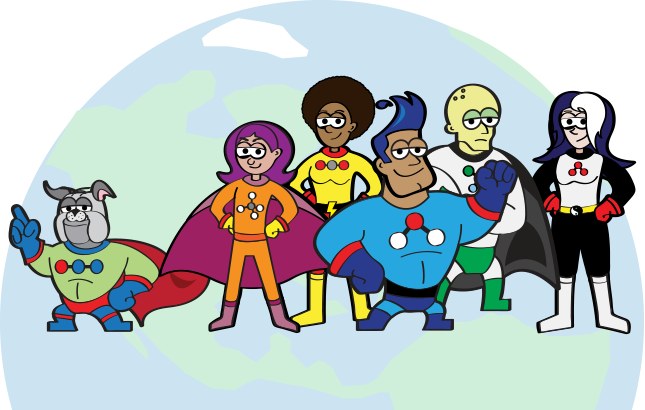 An illustration of a super hero team representing different greenhouse gases.