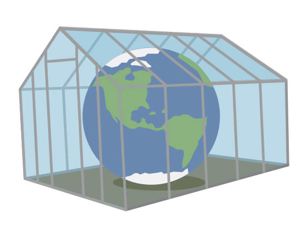 Cartoon Earth inside a greenhouse