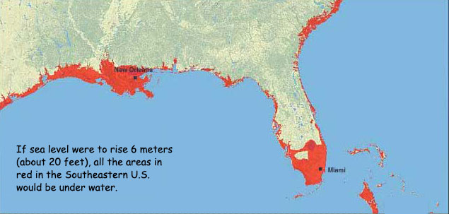 map of southeastern u s shows areas in red that would be under water if sea level