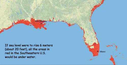 NASA Climate Kids Planet Health Report SEA LEVEL - Water rising map