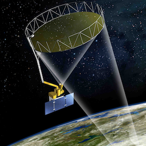 An illustration of the SMAP satellite over Earth.