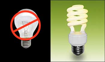 Two lightbulbs. Incandescent on left crossed out, compact fluorescent on right.