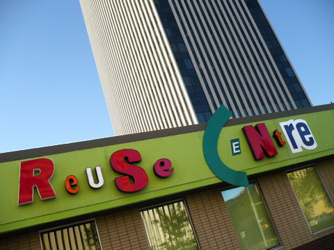 Front of thrift store that says 'Reuse Centre.'