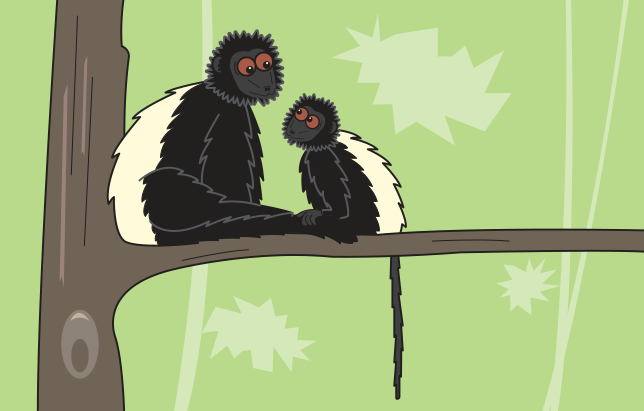 cartoon two lemurs on a tree.