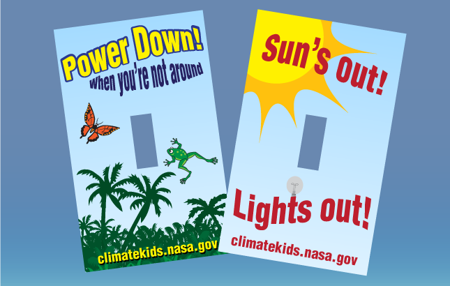 Two light switch covers featuring Climate Kids branding.