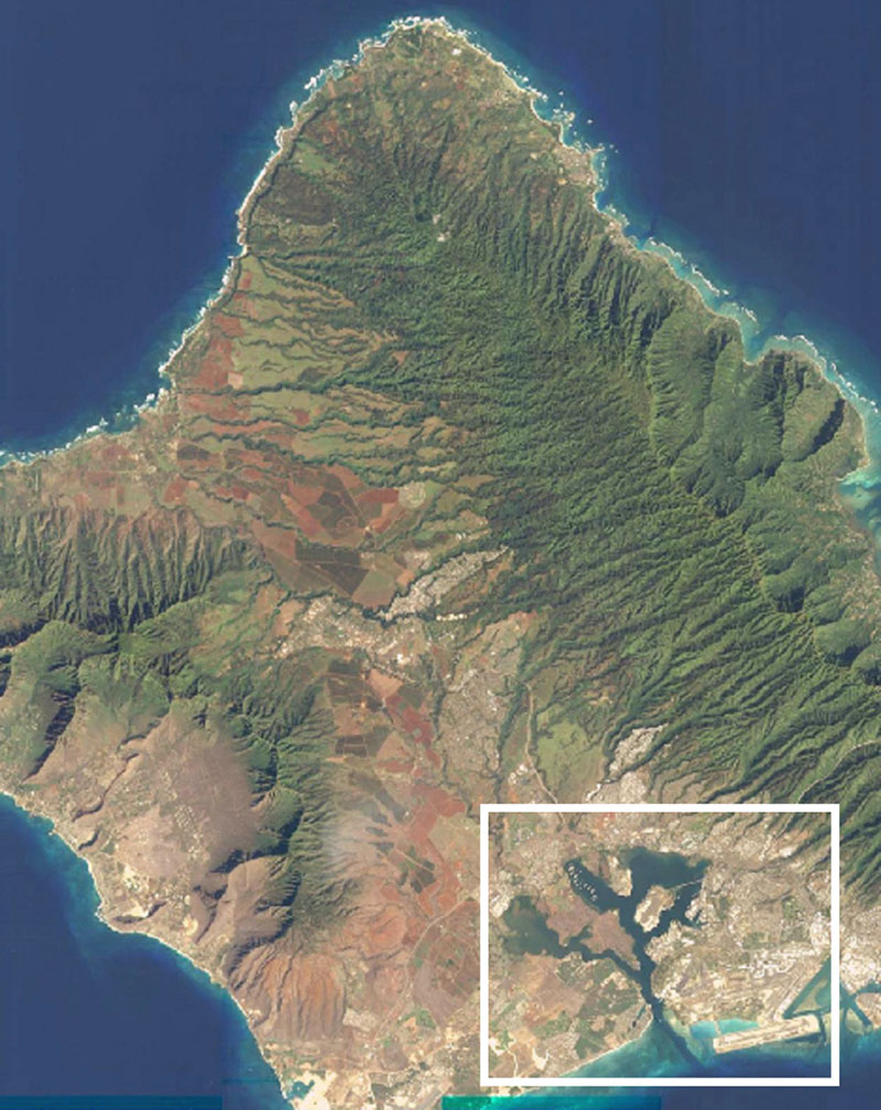 Image of Oahu, Hawaii, from space. You can see a tiny plane on a runway at the bottom of the island.