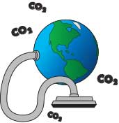 Cartoon Earth with vacuum clear hose sucking up CO2 molecules.