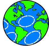 Cartoon Earth shoiwng major ocean currents.
