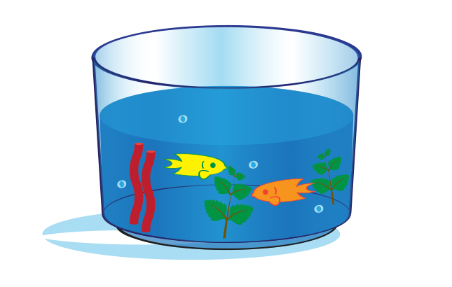 An illustration of an ocean ecosystem dessert in a clear bowl.