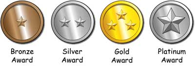 Cartoon medals for Bronze, silver, Gold, and Platinum Awards.