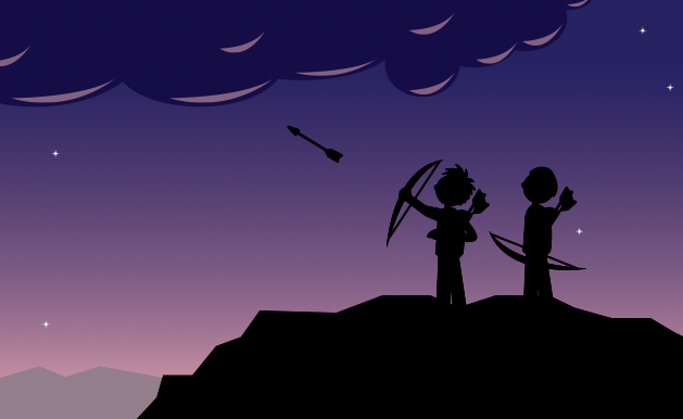 cartoon of two people in silloutte shooting arrows at a cloud.