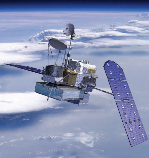 Computer-generated image of the GPM satelite.