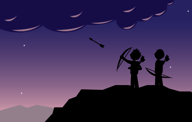 cartoon two people shooting arrows at a cloud.