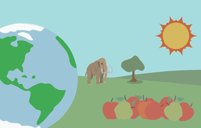 An illustration featuring a landscape of planet earth, a mammoth, and apples.