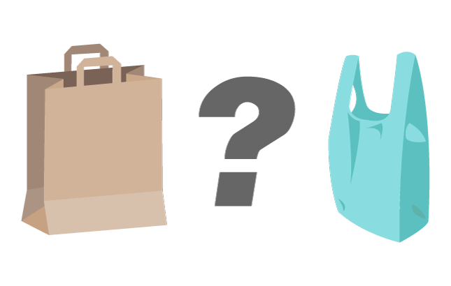 An illustration of a plastic bag, a paper bag, and a question mark between them.