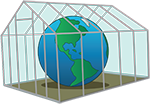 Cartoon greenhouse with Earth inside.