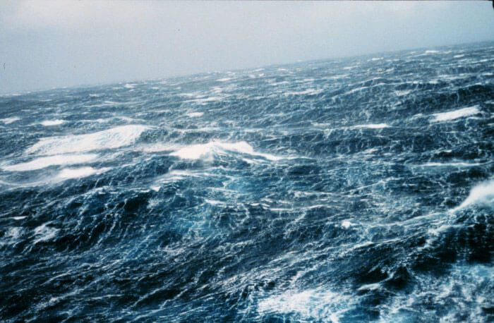 A turbulent sea surface in the North Pacific