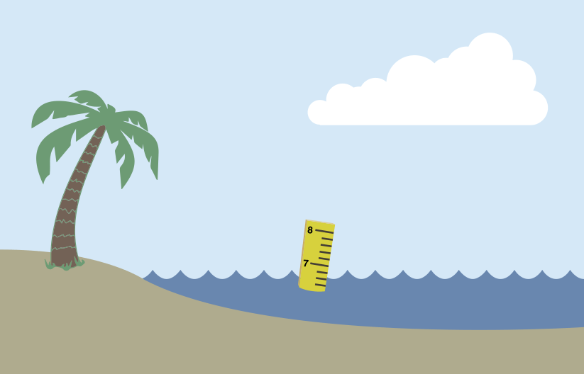Illustration of a beach and a ruler in the ocean water