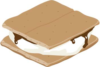 Drawing Of A Smore Sandwich Marshmallow And Square