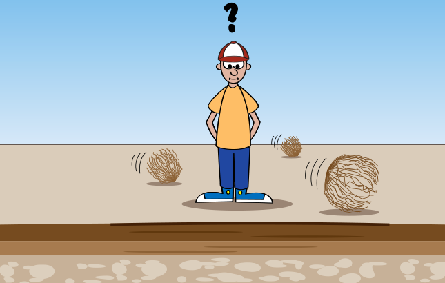 cartoon of a farmer looking down at soil