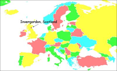 Simple map of Europe, only text label is Invergordon, Scotland.