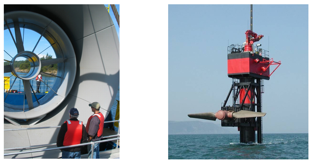 Two photos of tidal turbines under water.