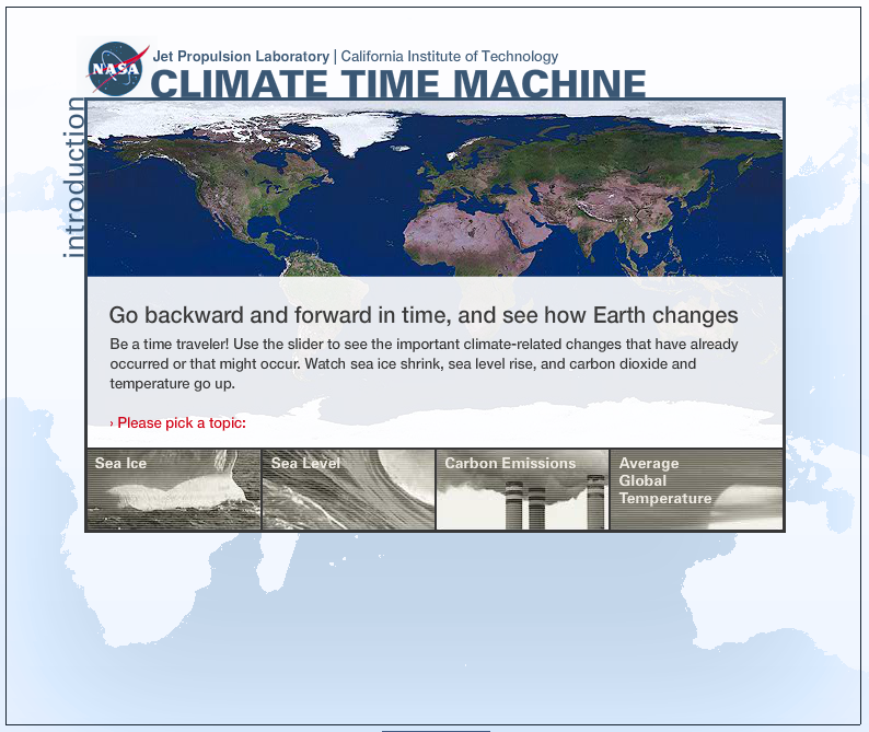Screenshot of Climate time machine game.