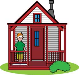 Cartoon of playhouse, with boy looking out window.