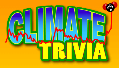 A stylized text that reads Climate Trivia