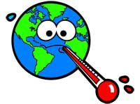 A cartoon of the Earth with a thermometer in its mouth.