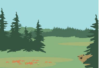 An illustration of coniferous trees in the wilderness.